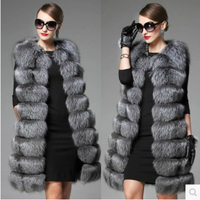 Woman Spring Plus Size Long Advanced Imitation Fox Fur Overcoat Female Autumn Oversized Thick Fur Vests Women Winter Warm Colete