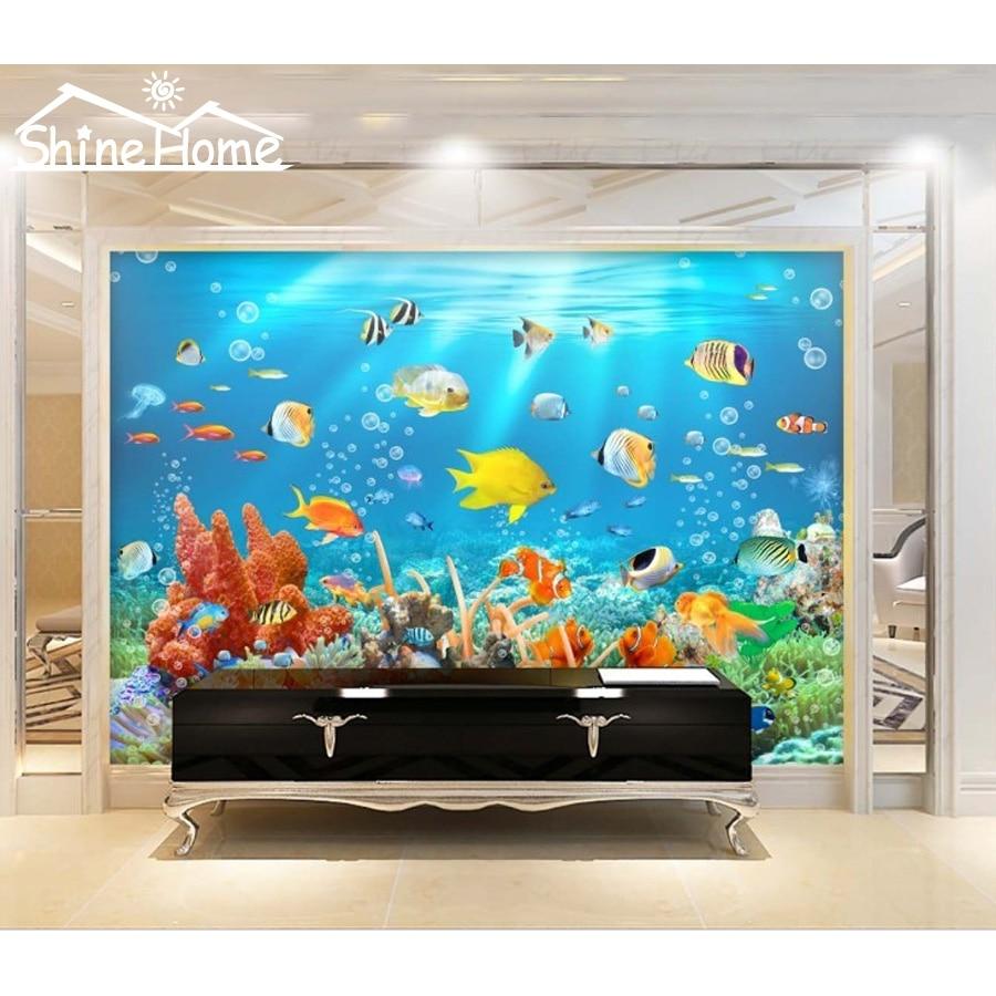 Undersea Fish Animal World 3D Wallpaper For Wall 3 D Flooring Photo Wallpaper Printed For Livingroom Mural Rolls Kids Bedroom