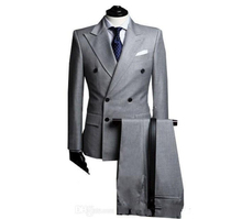 Gray double-breasted design the groom dress men's wedding dress PROM dresses (coat + pants + + vest)