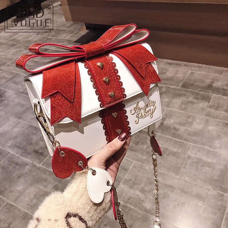 Fashion Cute Bow Shoulder Bags Women Sweet Girl Red Handbag Famous Designer PU Leather Messenger Bags Bag Lolita Kawaii Clutch