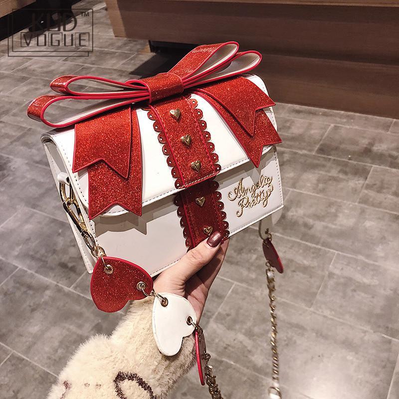Fashion Cute Bow Shoulder Bags Women Sweet Girl Red Handbag Famous Designer PU Leather Messenger Bags Bag Lolita Kawaii Clutch