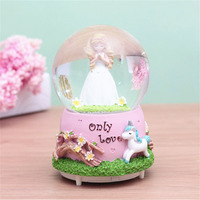 Gift Music Box Electronic Automatic Spray Snowflake Music Box Water Ball Snow baby girl room decoration Gifts home decor