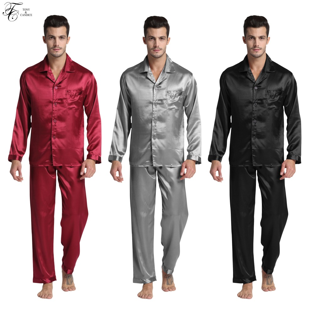 Tony&Candice Men's Stain Silk Pajama Set Pajamas Men Sleepwear Modern Style Silk Nightgown Men Satin Soft Cozy For Sleeping