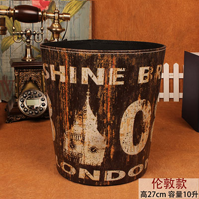 European leather large household trash fashion creative living room bedroom kitchen trash can waste basket without