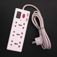 New Universal AC Extension Wall Socket Plug Socket Usb With 6 Universal Outlets 2 USB Port
