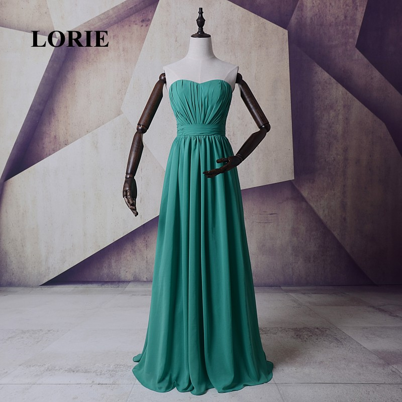 LORIE Hot New Green Bridesmaid Dress Sweetheart Pleats A Line Chiffon Long Prom Dress for Party robe demoiselle d'honneur 2017