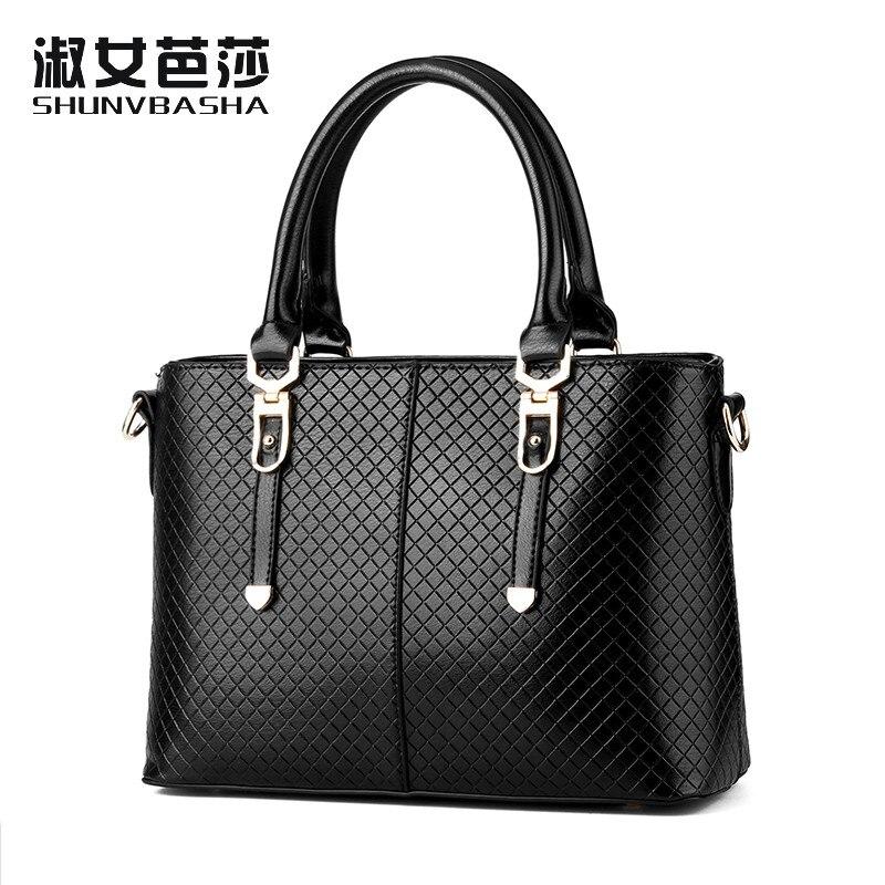 ФОТО SNBS 100% Genuine leather Women handbags 2017 New Grid embossed handbag high quality handbag fashion shoulder Messenger bag