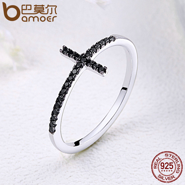 BAMOER Popular 925 Sterling Silver Faith Cross Shape Finger Rings for Women ,Black Clear CZ Sterling Silver Jewelry Gift SCR067 2