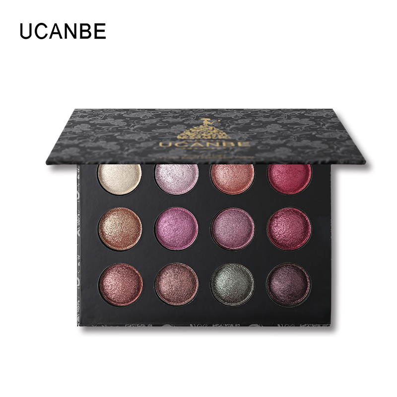 UCANBE Brand Hot Metallic 12 Colors Baked Eyeshadow Makeup Palette Natural Glitter Smoky Nude Shimmer Eye Shadow Powder Cosmetic цена