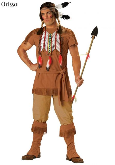 Adult Native Red Indian Man Brave Warrior Chief Fancy Dress Up Cowboy Costume  sc 1 st  AliExpress.com & Adult Native Red Indian Man Brave Warrior Chief Fancy Dress Up ...
