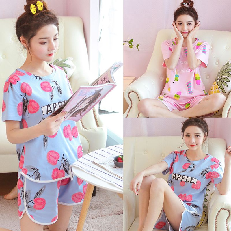 Young Girl Summer Short Sleeves   Pajamas     Set   Cute Cartoon Ice Cream Apple Print Candy Color Loose Sleepwear Women Home Loungewear