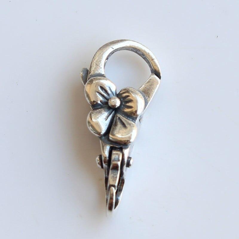 Fermoirs en argent Sterling 925 avec serrure à fleurs pour Bracelet en perles breloques à assembler soi-même