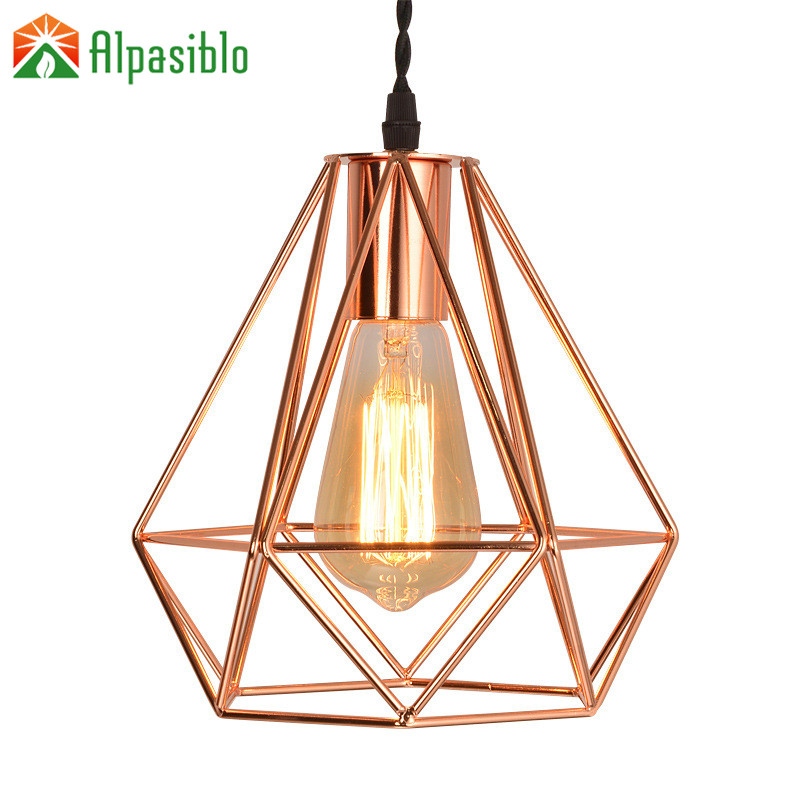 Verbazingwekkend Vintage Rose Gold Pendant Light Art Deco Diamond Lamp Birdcage JI-59