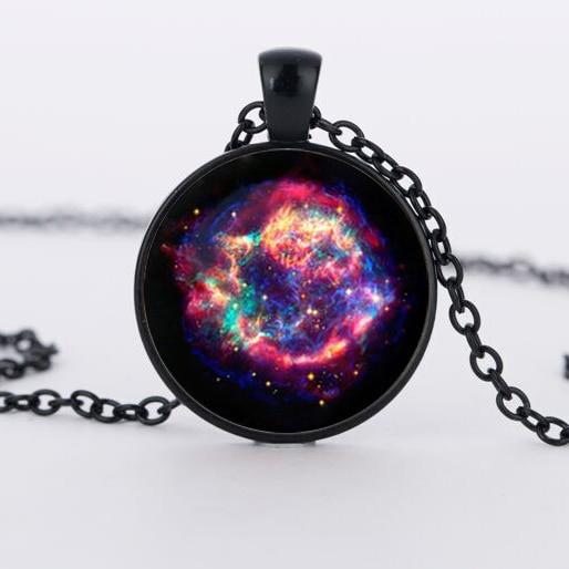 Collier nébuleuse cassiopée, collier galaxie univers spatial pendentif collier, collier Vintage Corrente de prata Skyrim mes commandes