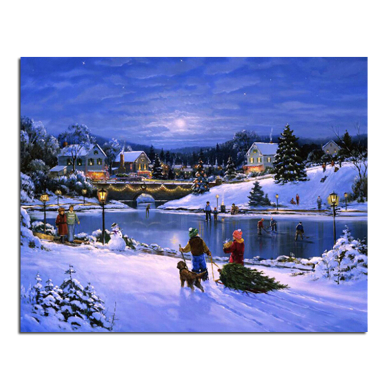 In the winter ice skating rink 50X40 DIY square drill rhinestone pasted painting cross stitch crafts Needlework Diamond Drawing