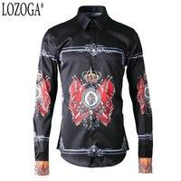 Lozoga New Long Sleeve Shirt Gothic Royal Flag Digital Positioning Custom Printed Men Shirts Black Brand Shirt Luxury Quality