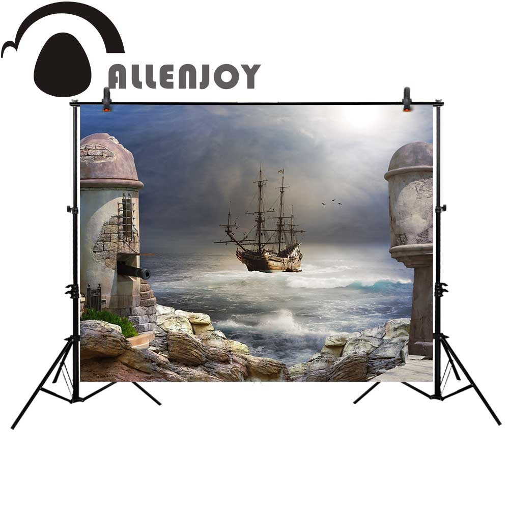 Allenjoy pirate photography backdrop painting house storm sea cartoon vintage Background  photobooth photocall photo studio pirate jack