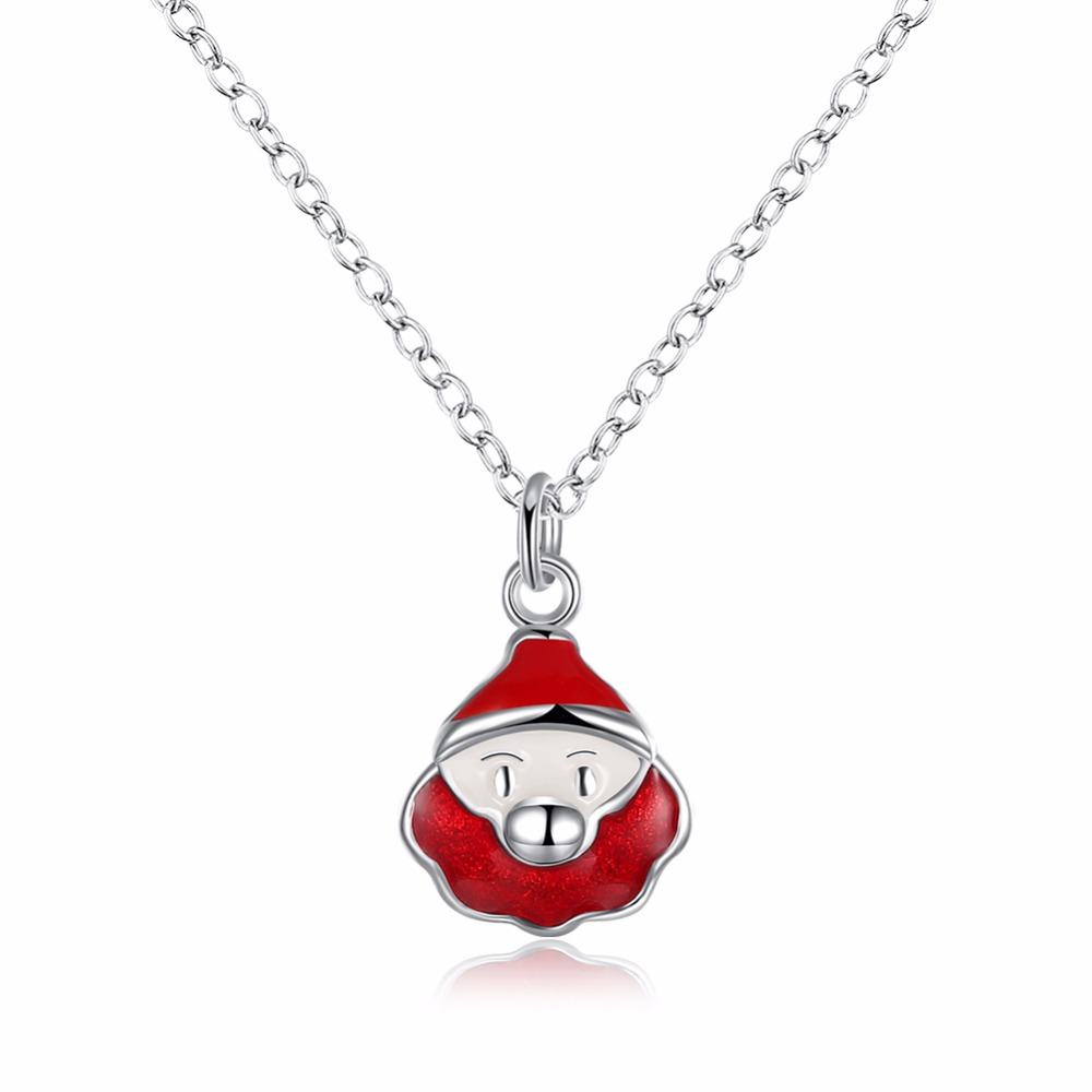 Free Shipping Fashion 925 Sterling Silver Jewelry Enamel Craft Red Santa Pendant Women S ...