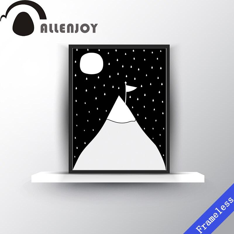 New Simple Modern Gunung Salju Bulan Hitam Putih Cetak Poster