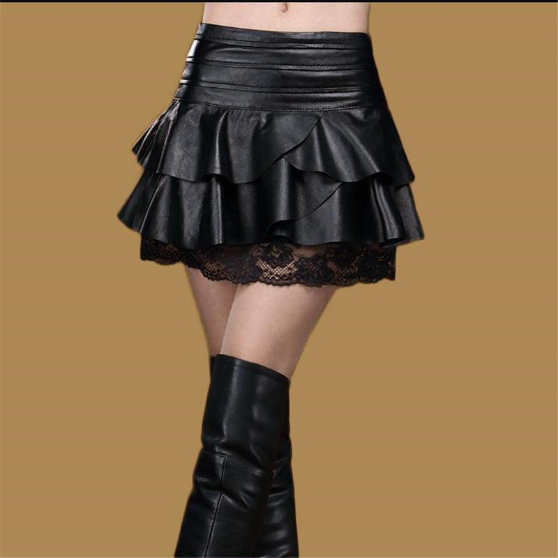 Lady Oversized Autumn High Waist Leather Skirt Pu Lace Splice Mini A Line Skirts Woman Plus Size Black Skirt Female Winter Skirt