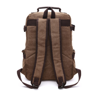 Image 2 - High Grade Canvas Backpack Men Solid Color Laptop Bags 15.6inch Superior Vintage Outdoor Design Durable New Trend Classic
