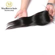 """Mayflower 4X"""" Кружево Закрытие Необработанные индийские прямые натуральные волосы полностью связанный вручную отбеленные узлы с волосами младенца натурального цвета 8-18"""""""