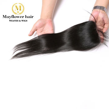 "Mayflower 4X4"" Lace closure Raw Indian straight virgin hair Full Hand tied bleached knots with baby hair Natural color 8-18"""