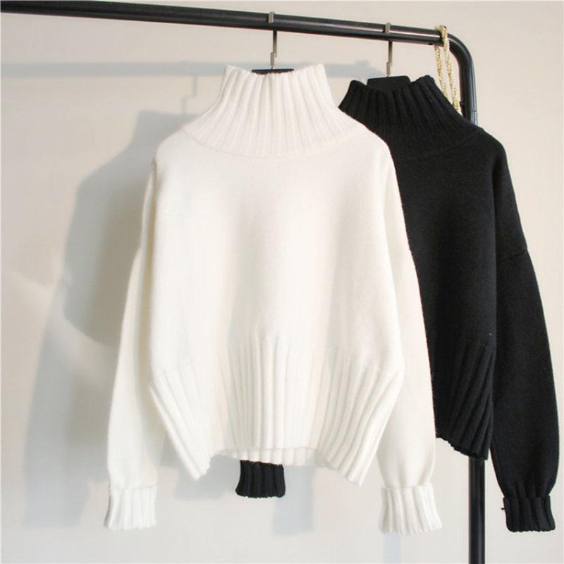 Suéter de cuello alto para mujer, Jersey de punto de alta elasticidad acanalado, Jersey ajustado para otoño e invierno, suéter básico para mujer, Truien Dames, nuevo