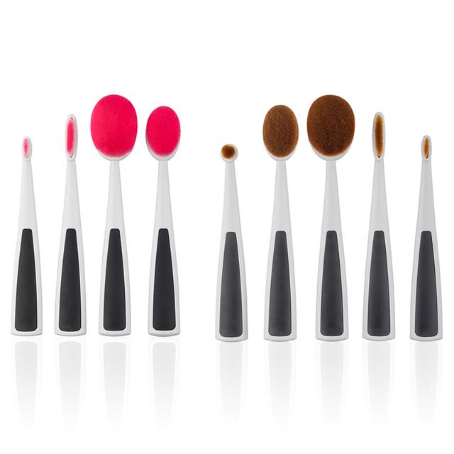 5 Pçs/set Elite Creme Oval Puff Escova Maquiagem Fundação Pó Facial Lip Eyeshadow Escovas Kits 2017 SSwell