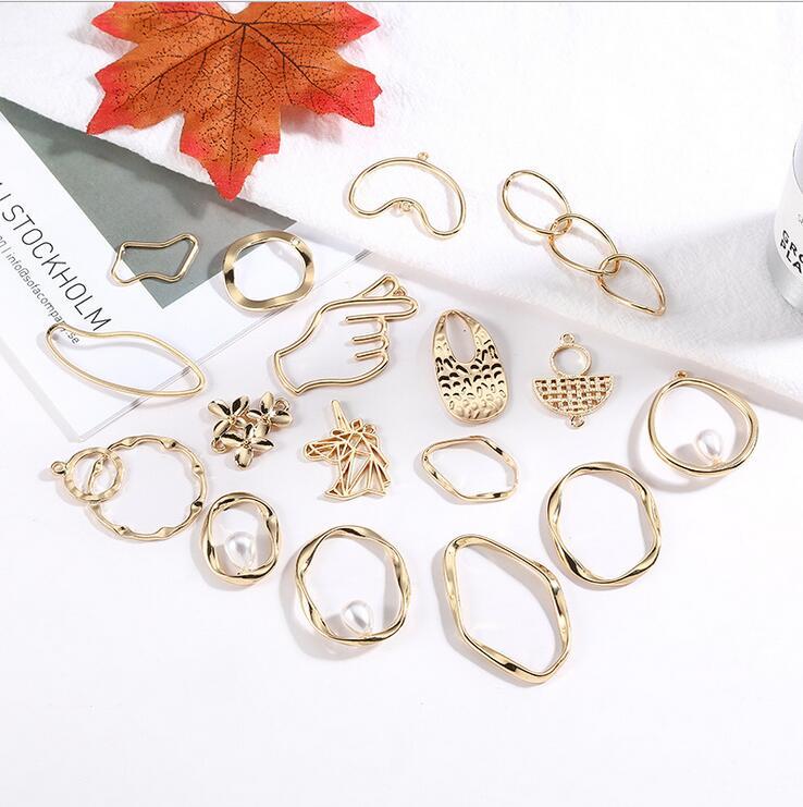 10pcs Alloy Geometric Flowers Than Heart Unicorn Earrings Handmade Diy Earrings Ear Clip Jewelry Material Package Accessories
