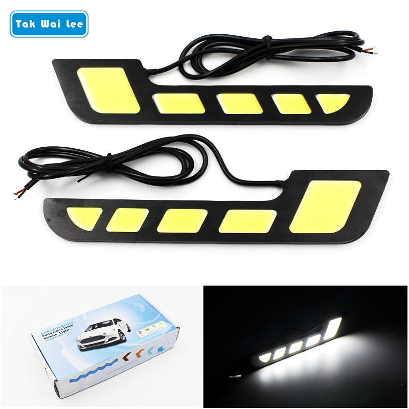 Tak Wai Lee 2Pcs/Set COB LED DRL Daytime Running Lights DC12V External Car Auto Driving Day Light Position Shap Lamp With Stick 2pcs set new design drl led daytime running lamp auto cob light 100% waterproof car accessories free shipping