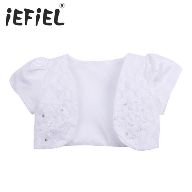 5252fffc6184 iEFiEL Girls Cape Coat Wedding Lace Kids Girls Satin Short Sleeves ...