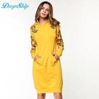 Dropship Autumn Women Slim Hoodie Dress Pocket Pullover Long Sleeve Casual Hoodies Women Clothing Tracksuit Hoodies Sweatshirt