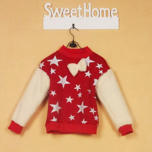 Lovely Stars Print Cozy Blouse Baby Kids Crewneck Long Sleeve Tops Girls Fleece clothes