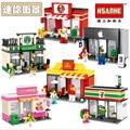 Sola Venta Mini Escena de La Calle Tienda Taller De Arquitectura Con Bloques Huecos de Figuras Modelo Juguetes