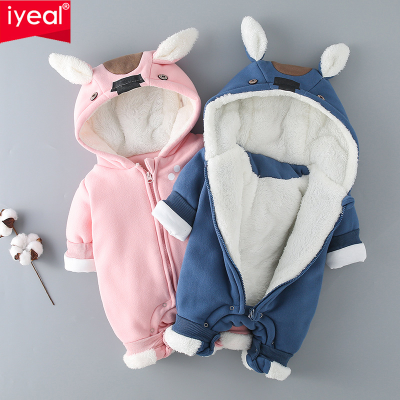 цена на IYEAL Winter Newborn Jumpsuits Infant Baby Clothes Fleece Animal Fox Toddler Clothing Baby Romper Cotton-padded Overalls Outwear