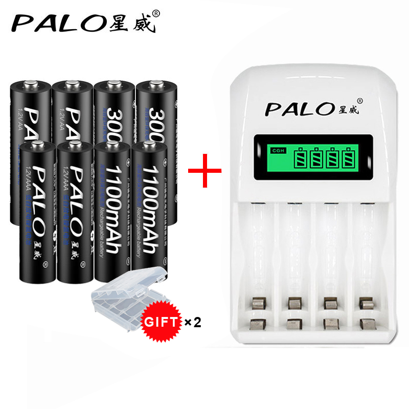 Smart battery charger with LCD display for AA/AAA battery+4pcs AAA 1100mah+4pcs AA 3000mah batteria battery rechargeable battery