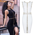 2016 new women black white bandage dress rayon sexy front split bodycon metal ring beading knee-length evening party dress HL588