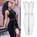 2016 new women black white vestido bandage rayon sexy frente dividir bodycon anel de metal beading na altura do joelho-comprimento vestido de noite do partido vestido HL588