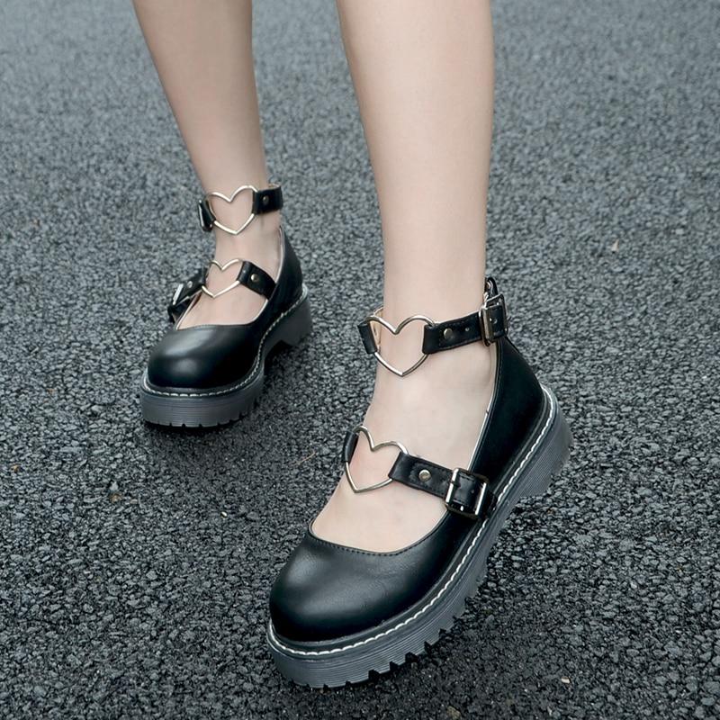 LoveLive Student Shoes College Girl Student LOLITA Shoes JK Uniform Shoes PU Leather Heart-shaped Lac Shoes 3 Colors 1