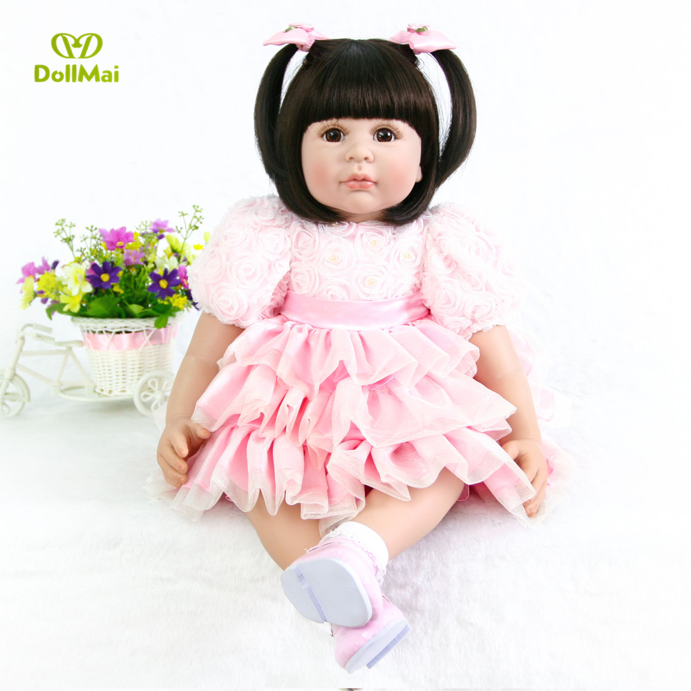 60cm Silicone Reborn Baby Doll Toys 24inch Vinyl Princess Toddler Girl Babies Doll pink dress bebes reborn Birthday Gift  60cm Silicone Reborn Baby Doll Toys 24inch Vinyl Princess Toddler Girl Babies Doll pink dress bebes reborn Birthday Gift