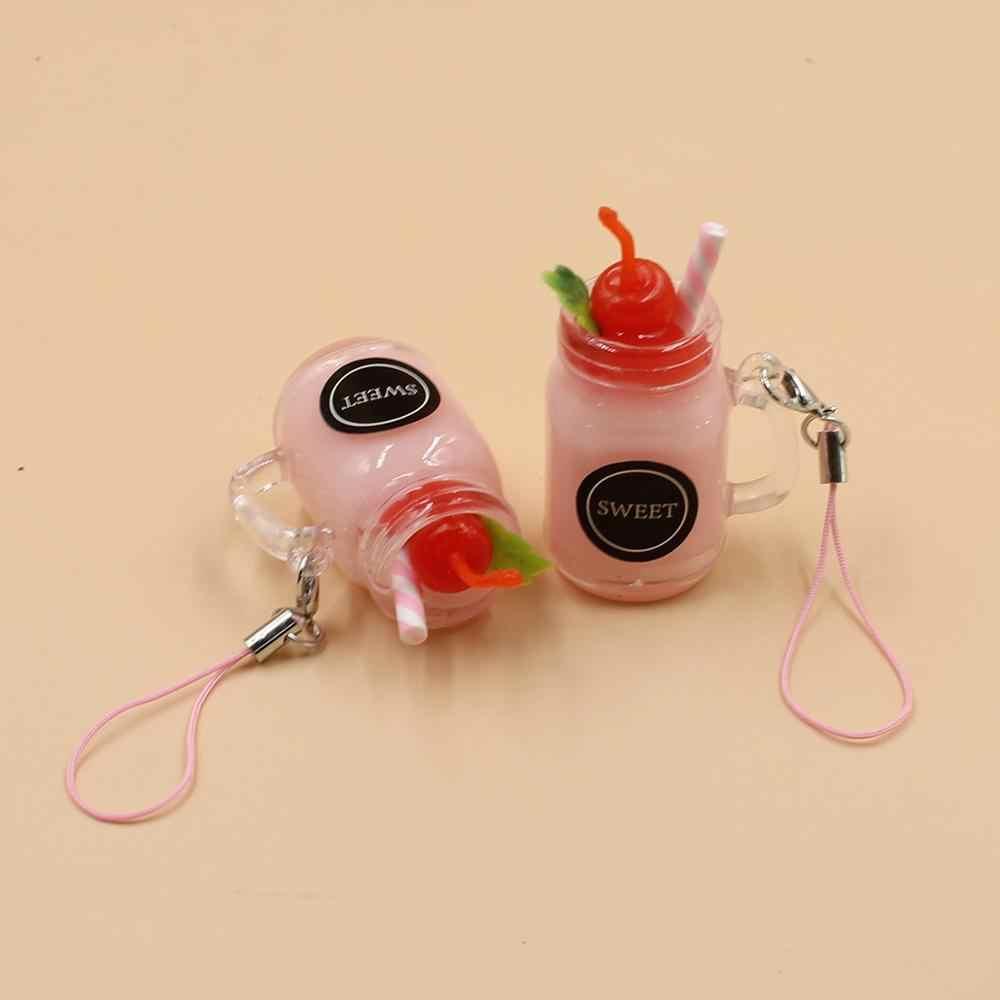 Creative Funny Bubble Tea Keychain Resin Summer Drinks Jewelry Milk Tea Key Chain Handbag Car Holder Accessories