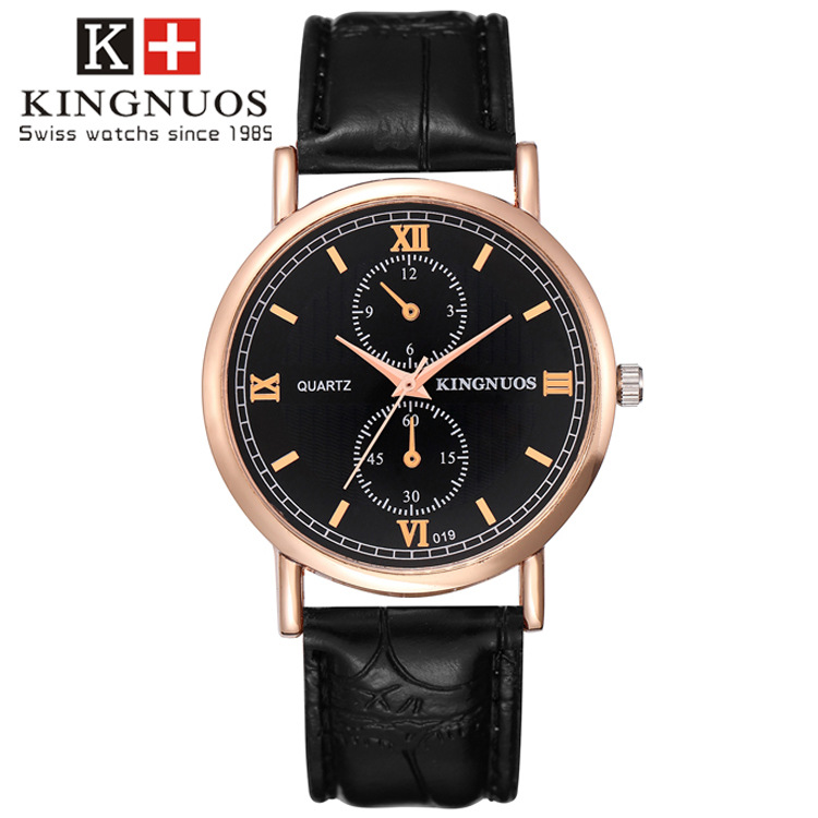 Kingnuos Famous Brand Luxury Watches Men Leather Strap Quartz Wrist Watch Men's Fashion Casual Business Sports Dress Watch Clock mavala carrousel color s collection 158 цвет 158 smokey blue variant hex name 284b5f