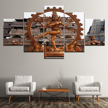 Canvas Painting Buddha Circular statue 5 Pieces Wall Art Modular Wallpapers Poster Print for living room Home Decor