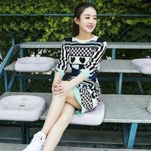 South Korea 2016, winter, flowers, thousands of bone Zhao Liying star with the same model of the thin knit dress