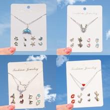 4Pairs/lot Fashion Korean Stud Earrings Set For Women Heart Star Snowflake Rhinestone One Week Earring Gift