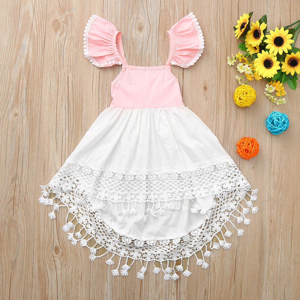 Toddler Baby Girl Kids Summer Backless Party Lace Princess Tassel Dress Clothes