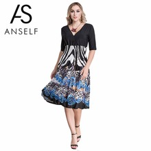 ada6f433ca3a9 ANSELF 5XL 6XL Autumn Dresses Women Plunge V Neck Print Plus Size Dress Big  Size Knee-Length Midi Party Dress female vestidos