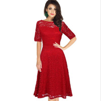Women Sexy Lace Dress Red Blue Evening Party Clothes Slash Neck Hollow Out Half Sleeve Plus