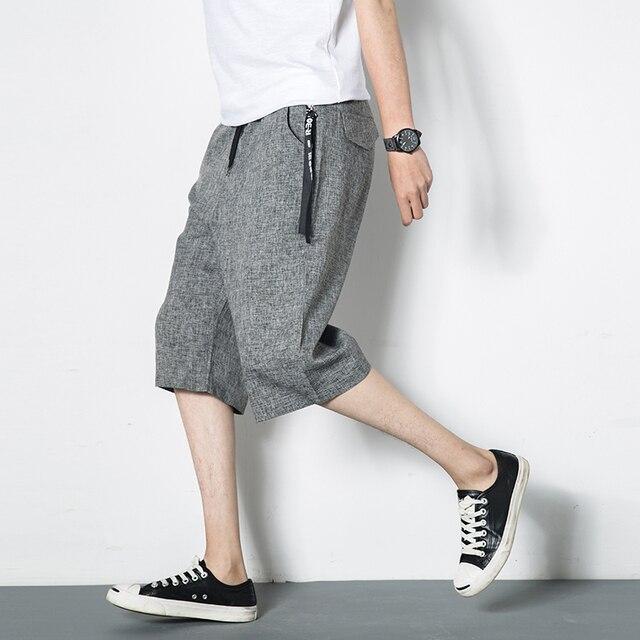 2019 new summer trend 7-point men's shorts harem slacks large size baggy legs